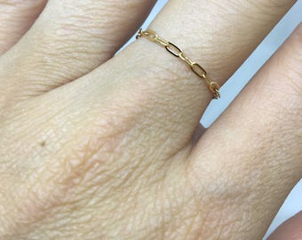 RING RECTANGLE chain / gold plated