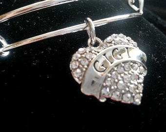 Gigi bracelet, Silver charm heart, adjustable charm bangle, free shipping and gift box, ready to ship