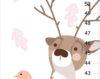 Woodland forest personalized GROWTH Chart   - Deer Nursery Decor,  Wall Height Chart, Kids Height Chart