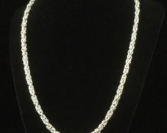argentium silver chainmaille byzantine necklace, sterling silver chainmaille necklace, Byzantine necklace, sterling silver necklace,