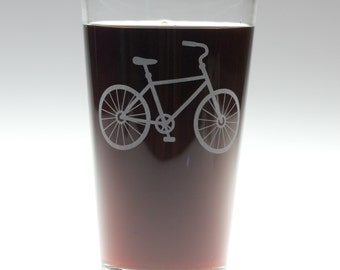 Bicycle engraved glass with option to personalize, bike