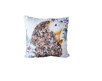 Floral Hedgehog  | Cotton Pillow