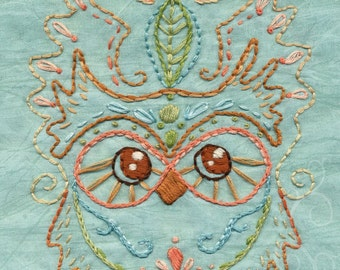DIY Kotori Owl Embroidery Pattern Boho decor PDF download hand embroidery patterns designs