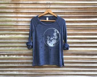 the full moon at midnight Slouchy Pullover, Moon Shirt, Space Shirt, S,M,L,XL