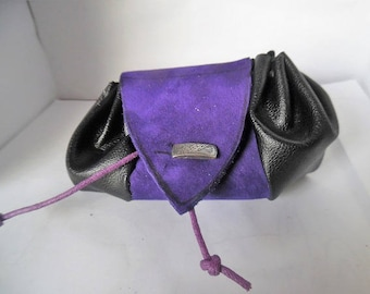 Leather and faux leather purse