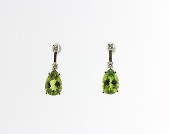 1 of a Kind New 6ct Pear Peridot .39cts Round Diamond 14k Gold Pierced Earrings