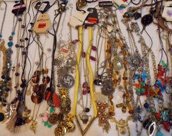 Lot 42 necklaces, multi pendant short/long, cording/chain, small pendants/large, variety