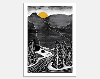 River adventure Art Print / wall art / camping / wilderness / black and white / yellow / mountains / kayak / canoe / illustrated / trees