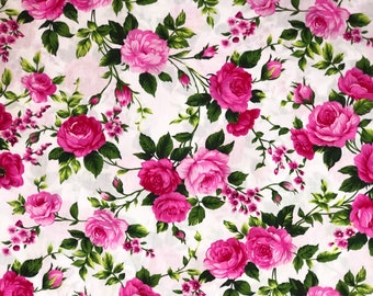 Pink Rosy - White cotton fabric width 150 cm - Light Weight Cotton, 100% Cotton, Fabric. Annie Lane Australia