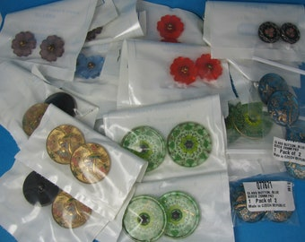 Assorted Lot Czech Glass Coat Jacket Dress Buttons