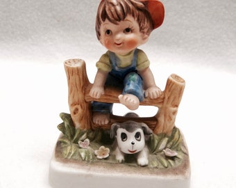 Lefton Figurine - Boy and Dog/Puppy Playing