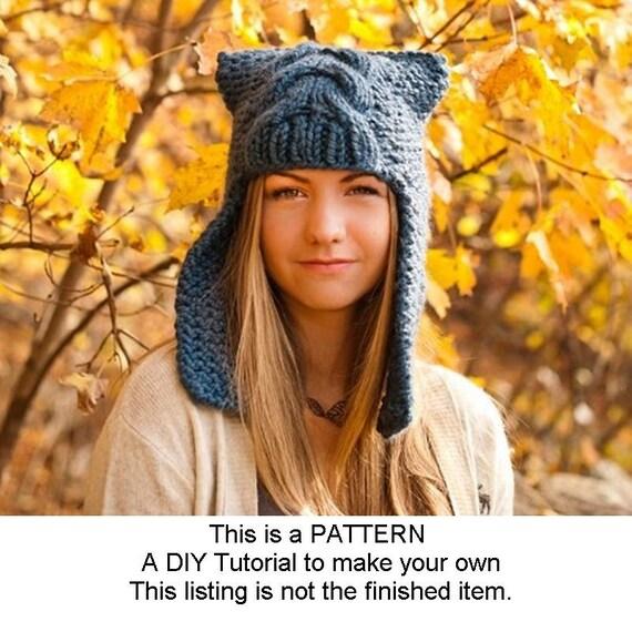 Instant Download Knitting Pattern - Knit Hat Pattern for Dragon Slayer Earflap Helmet Hat - Womens Accessories