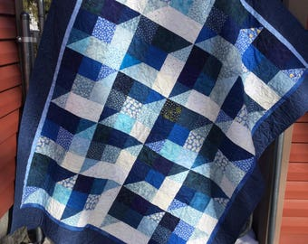 Winter Blues Scrappy Quilt, Blue Patchwork Quilt, Blue Lap Quilt,Twin Size Quilt, Full Size Quilt, Blue White Quilted Throw, Handmade Quilt