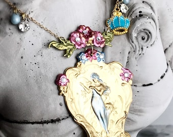 art nouveau goddess necklace fairy tale nymph flower jewelry enamel crown vintage style whimsical fantasy floral french GARDEN PRINCESS