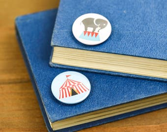 Elephant and Big Top Circus Pin Badge Button pack