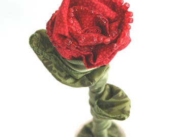 Fabric Rose in Vase, Red Rose Centerpiece, Eco Friendly Wedding, Bridal Flowers, Wedding Bouquet, Handmade Fabric Rose, Everlasting Flowers