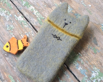 Cat Gray Phone Case Eco Padded Pure Wool Felt Sleeve Cover Cute Funny Grey Bow tie Pet Unisex Geekery Unique Gift Any Size Free Shipping