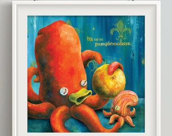 "Orange Octopus Print - ""Tu es un pamplemousse"""