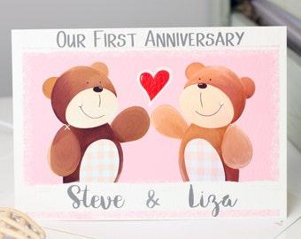 Bear First Anniversary Card Personalised, 1st Anniversary, One Year, Wedding, Husband, Wife, Boyfriend, Girlfriend, Love Card by LizaJdesign