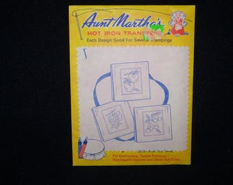 Aunt Martha's hot iron transfer  3510--Fruit Tea Towel