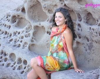 Hand painted Halloween Shawl/Orange Pumpkins/Halloween Silk shawl/Hand painted shawl/Painted by hand Silk/Woman Silk Accessory/Gabyga/S0213