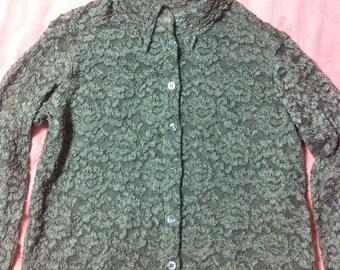 90s Vintage Sage Green Lace Blouse, 90s Vintage Floral Lace Blouse, Vintage Lace Shirt Blouse, Lace Button Up Shirt, Sage Green Lace Blouse
