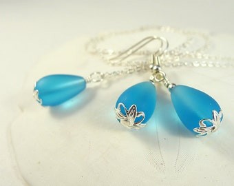 Blue bridesmaids sets light blue sea glass jewelry for bridesmaids wedding jewelry sea glass necklace seaglass necklace and earrings favors