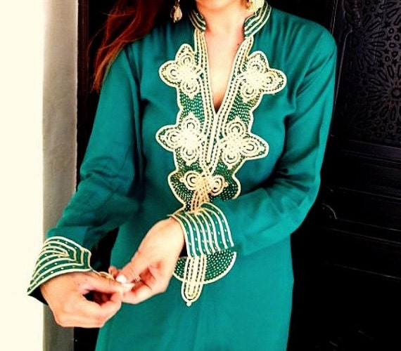 Summer Emerald Green Caftan Kaftan Loungewear  - Aisha-loungewear,resortwear, for Ramadan, Eid, Birthdays, Honeymoon or Maternity Gift