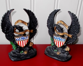 American Eagle Cast Iron Bookend Pair