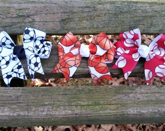 Sports 3 inch Hair bows (soccer, basketball, baseball).