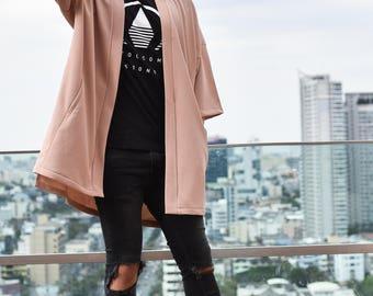 Men's Long Beige Noragi Jacket, Japan Oversized Kimono Cardigan, 4 Pockets Coat, Textured Anti Wrinkle Fabric, One Size Street Haori Yukata