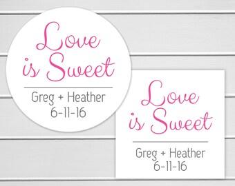 Love Is Sweet, Wedding Favor Sticker, Wedding Stickers, Wedding labels (#025)