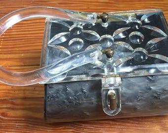 Vintage, Marblized Lucite Box Purse