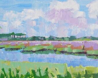 "Summer Marsh painting  Large canvas Original landcape  12"" x 36"""
