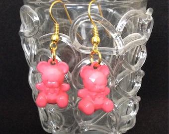 Bear earrings, Rose