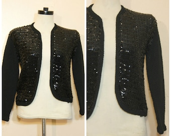 Black Sequin Cardigan Sweater Small 80s 90s Vintage Retro