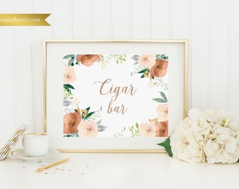 Cigar Bar - Printable or Printed - 11x14 - Other sizes available - Rose Gold Floral
