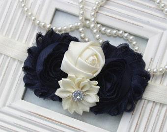 Navy blue headband, navy blue and ivory headband, navy blue elastic headband, navy blue wedding headband ivory and navy blue hair accessory