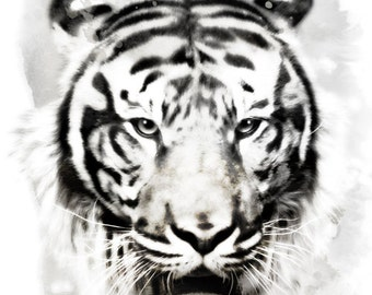 """Tiger Watercolor Painting, 8X10"""" and 11X14"""" Instant Download, Ptintable, Animal Painting, Animal Art, Animal Print"""