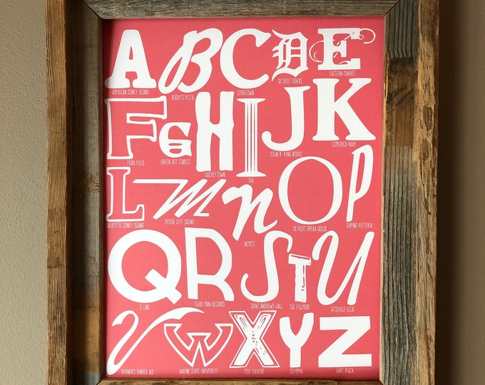 The Alphabet of Detroit Word Art (Salmon Pink) - Unframed