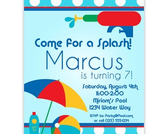Pool Party Invitation - Blue Polka Dots and Red Water Squirt Gun Personalized Birthday Party Invite - a Digital Printable File