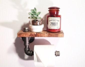 Industrial Bathroom toilet paper holder - Rustic home decor - Steampunk bathroom holder-Unique Bathroom shelf-Pipe bathroom holder-Farmhouse