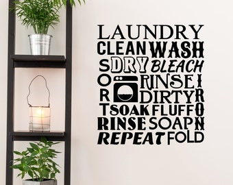 Laundry Wall Decal - Laundry Word Cloud - Laundry Stickers - Laundry Room Decor - Laundry Room Art - Quote Wall Decal - QU488