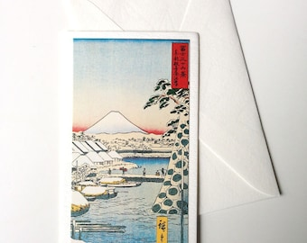 Card and envelope, pattern Japanese traditional UKIYOE FUJIYAMA (F1317)