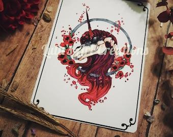 Poppy: A Undead Unicorn Collection Print, 5 in x 7 in, Dark Fantasy Print