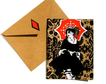 Gothic Maiden Just Because Blank Greeting Card