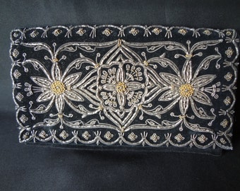 Clutch Purse Vintage Black Velour from the 70's