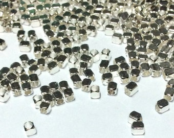 3mm x 2mm Silver Cube Beads - Silver Cube - Cube Beads - Spacer Beads - Silver Tiny Beads