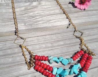 Tribal Coral and Turquoise Multistrand Statement Necklace / Multistrand / Tibetan Style / Beaded Necklace