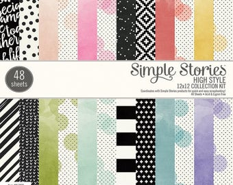 High Style 12X12 Paper Pad by Simple Stories, 48 pages for scrapbooking, pocket letters/scrapbooking, papercrafing, card making